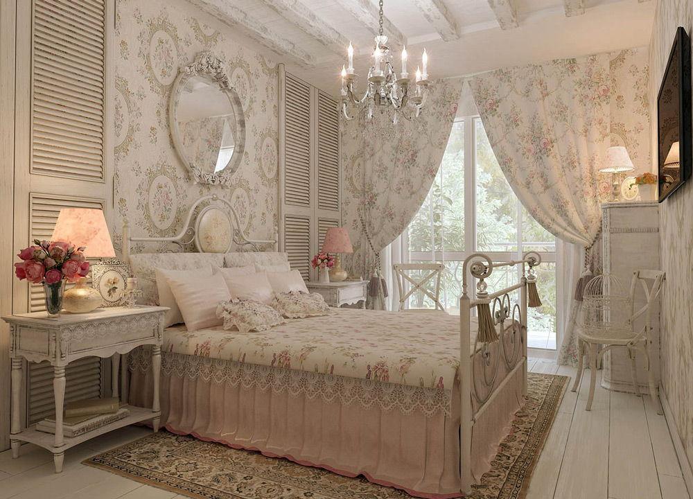 Бежевая спальня в стиле шебби-шик