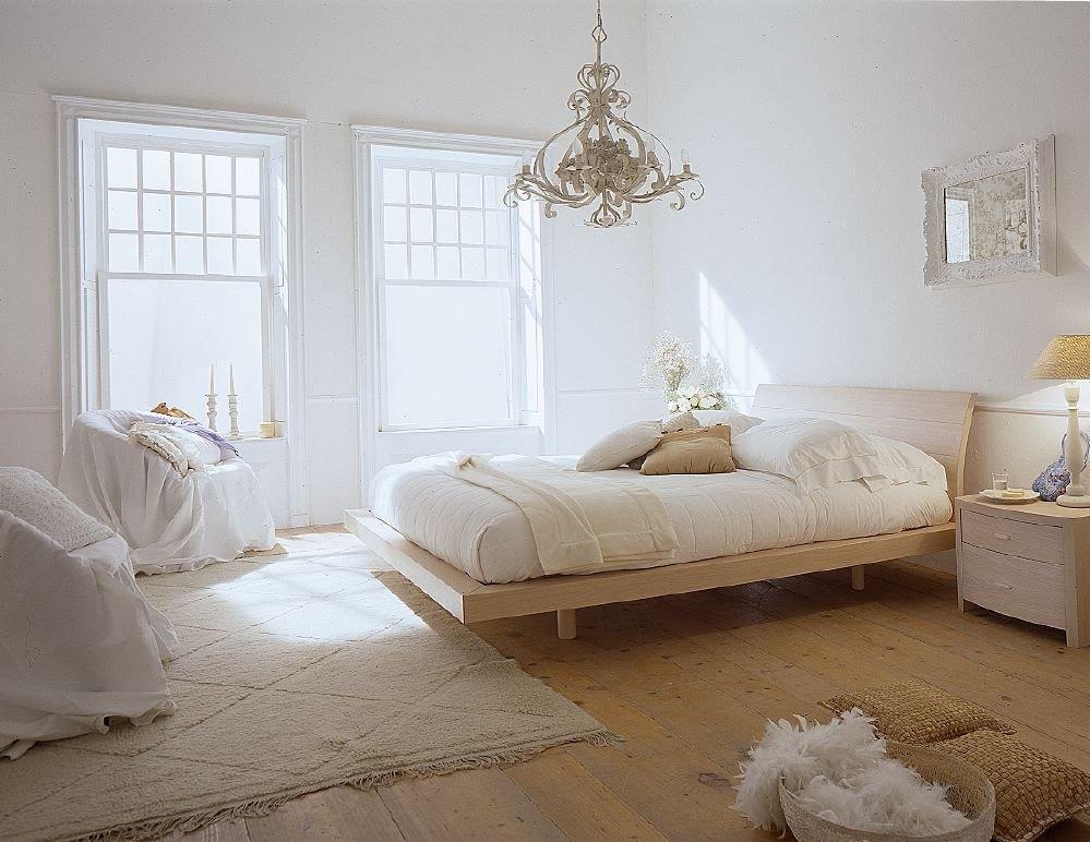 Вариант оформления бежевой спальни в скандинавском стиле