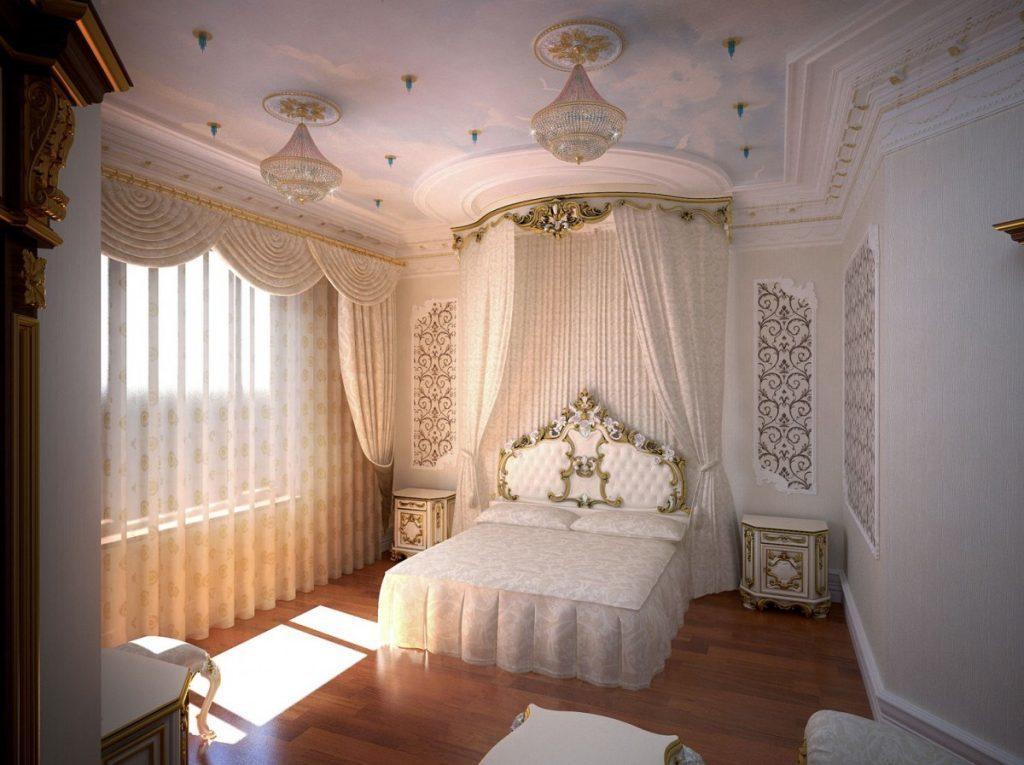 Спальня в бежевых тонах с резным изголовьем и балдахином