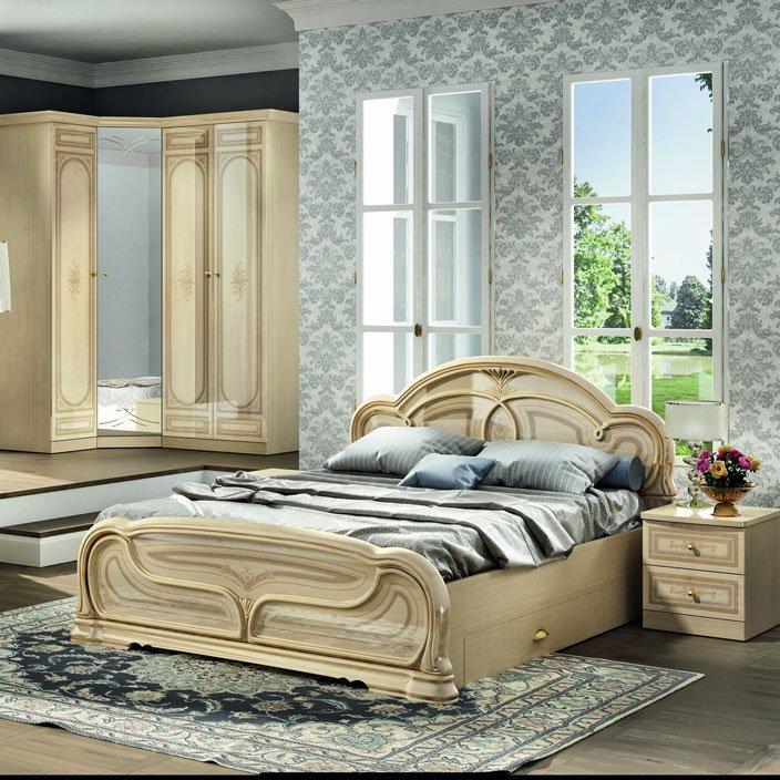 Спальня в голубых тонах с бежевой мебелью