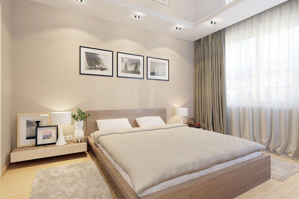 Спальня в бежевых тонах с натяжным глянцевым потолком