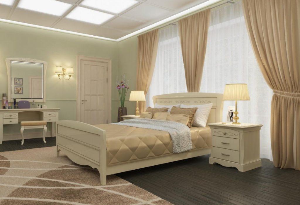 Спальня в бежевых тонах с большим окном и потолком со сложной подсветкой