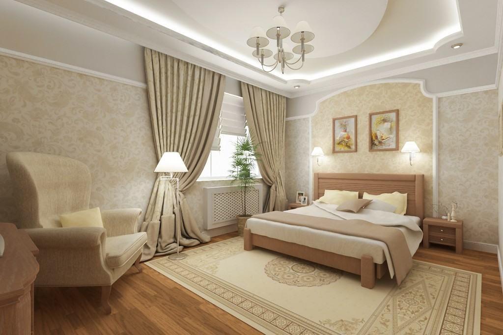 Спальня с торшером, светильниками, бра и любстрой