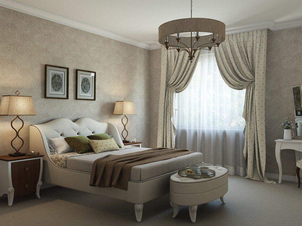 Мебельный гарнитур с необычной формой ножек в спальне бежевого цвета