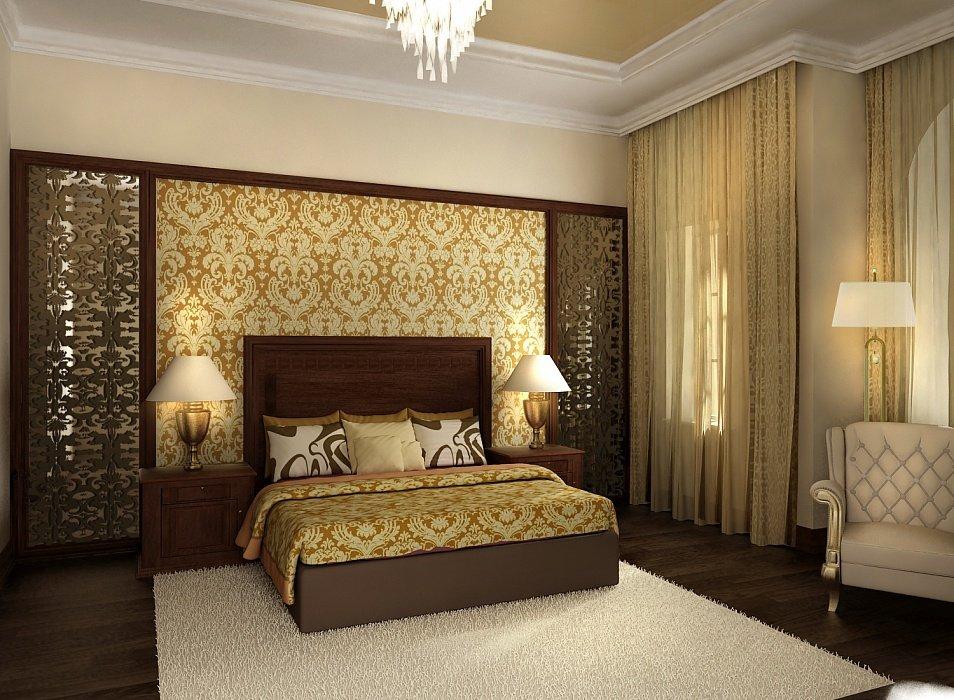 Бежевый и охристый цвет в декоре спальни