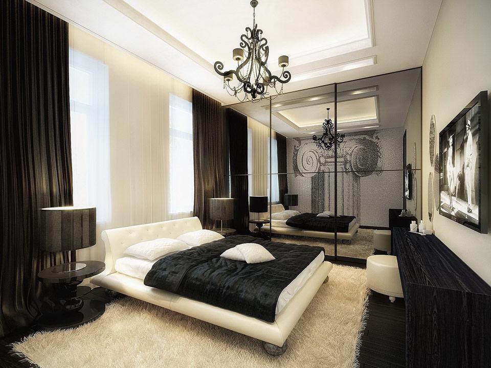 Спальня с чёрным текстилем и мбелью