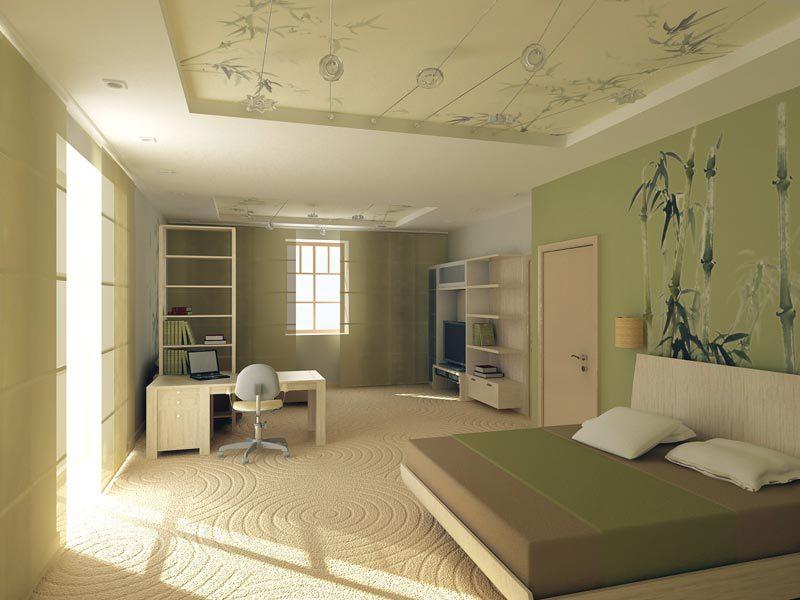 Растительный рисунок на потолке и стене в спальне