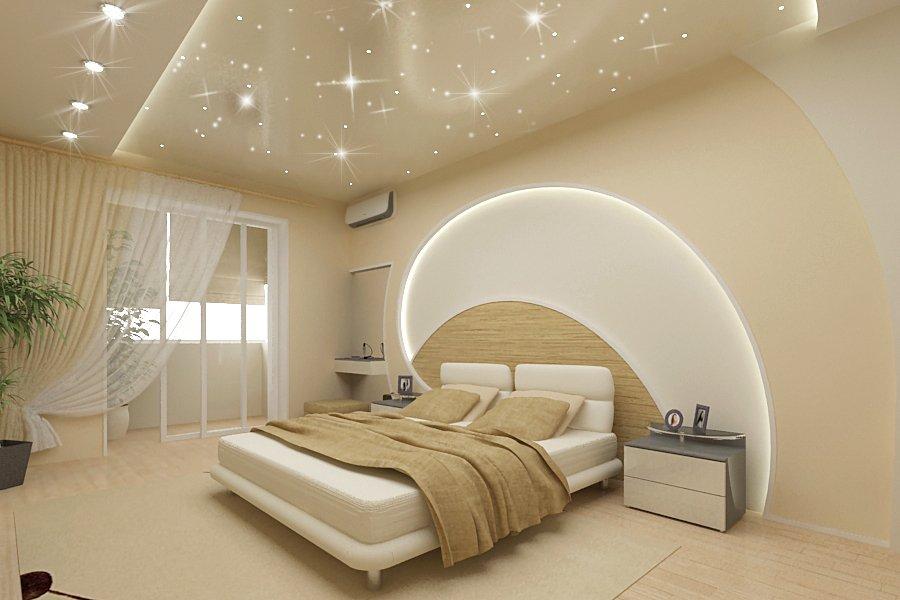 Бежевая спальня в стиле минимализм