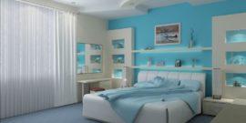 Спальня в голубых тонах — воплощение романтики и свежести