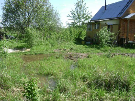 Дом в низине: участок заводнён