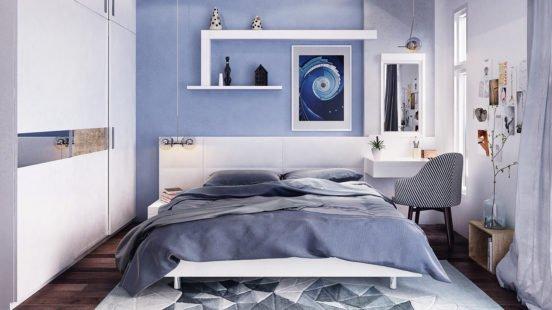 Преимущества и недостатки спальни в голубых тонах
