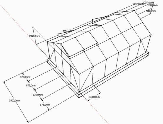 Пример чертежа теплицы для сада