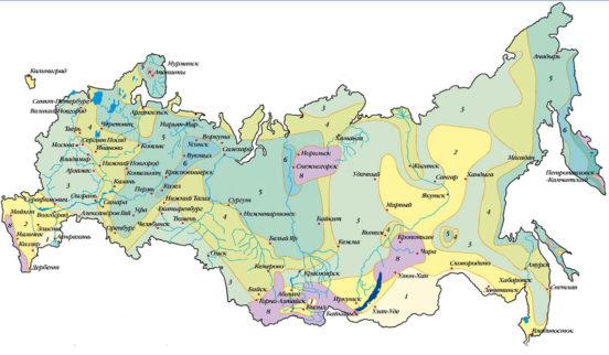 Карта снеговых районов РФ