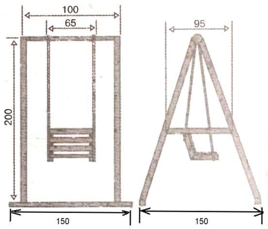 Чертёж подвесных качелей с сиденьем «стульчик»