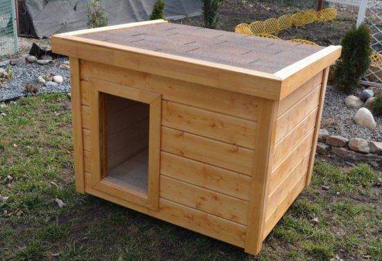 Будка для овчарки с односкатной крышей
