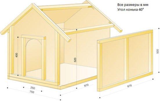 Чертёж будки с двускатной крышей