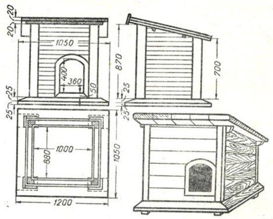 Чертёж будки с односкатной крышей