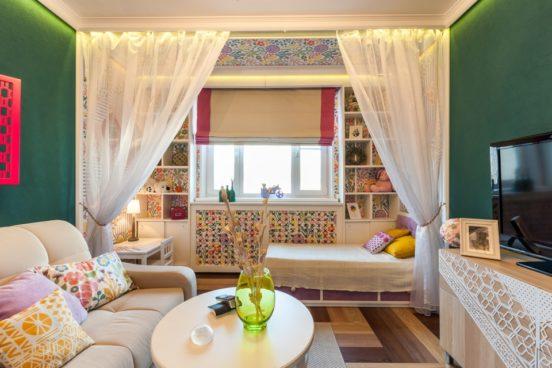 Маленькая гостиная-спальня в едином стиле бохо