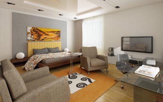 Кровать и кресла в интерьере спальни-гостиной