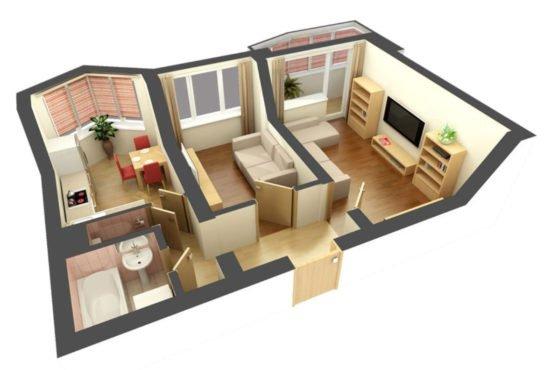Макет маленькой двухкомнатной квартиры, сзданный в 3DMax
