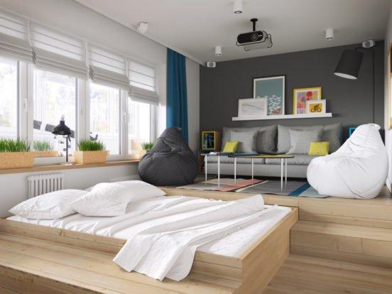 Большой подиум в интерьере спальни-гостиной
