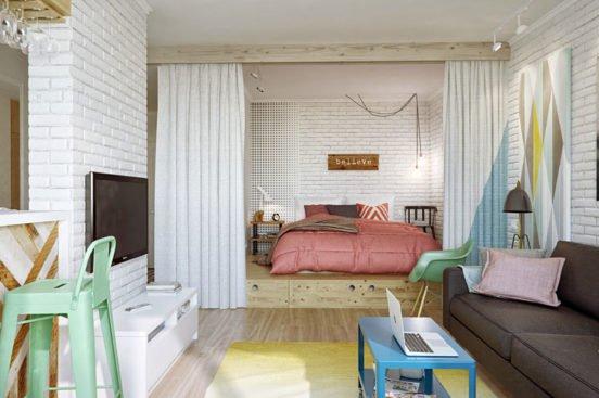 Отделение гостиной от спальни с помощью штор