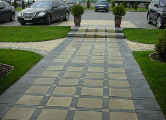 Тротуарная плитка в серых и бежевых цветах