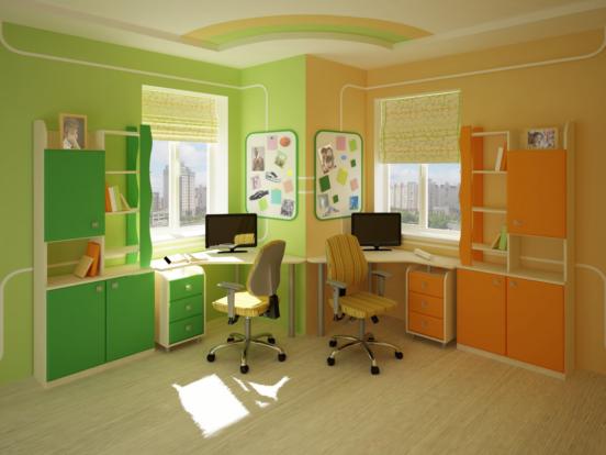 Учебные зоны для двух детей в одной комнате