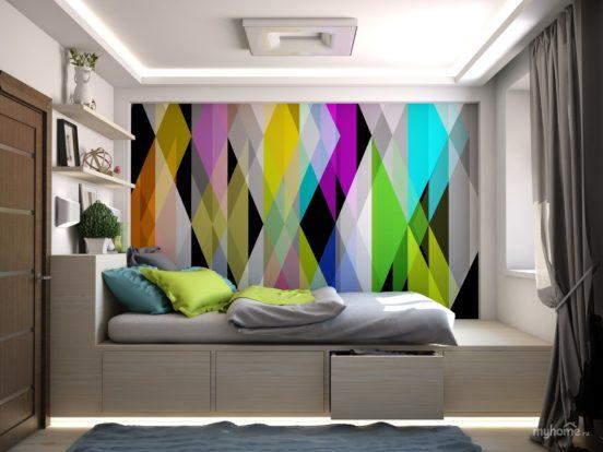 Яркий принт в спальне
