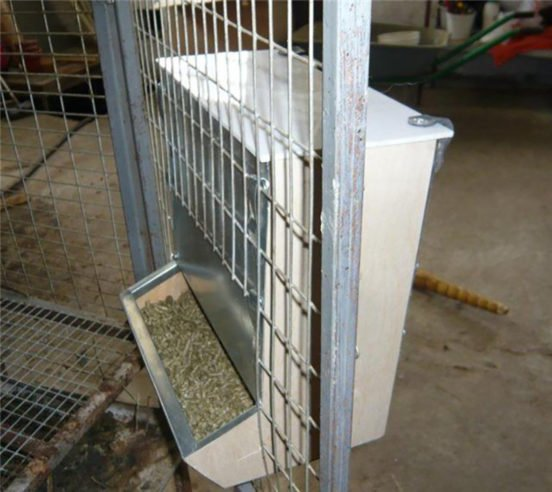 Зерновая кормушка для кроличьей клетки