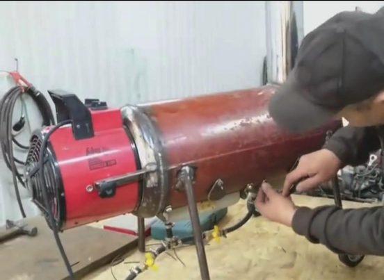 Подсоединение вентилятора к газовой теплопушке