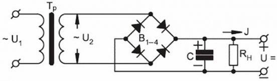 Схема выпрямителя переменного тока на диодах