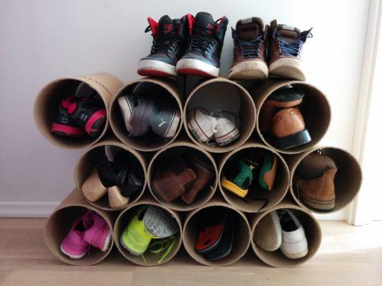 полка для обуви своими руками из пустых рулонов