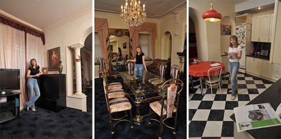 Лариса Луппиан в разных комнатах квартиры