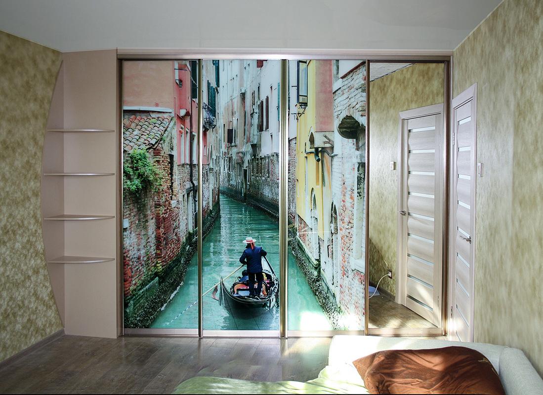 раздвижные двери с фотообоями