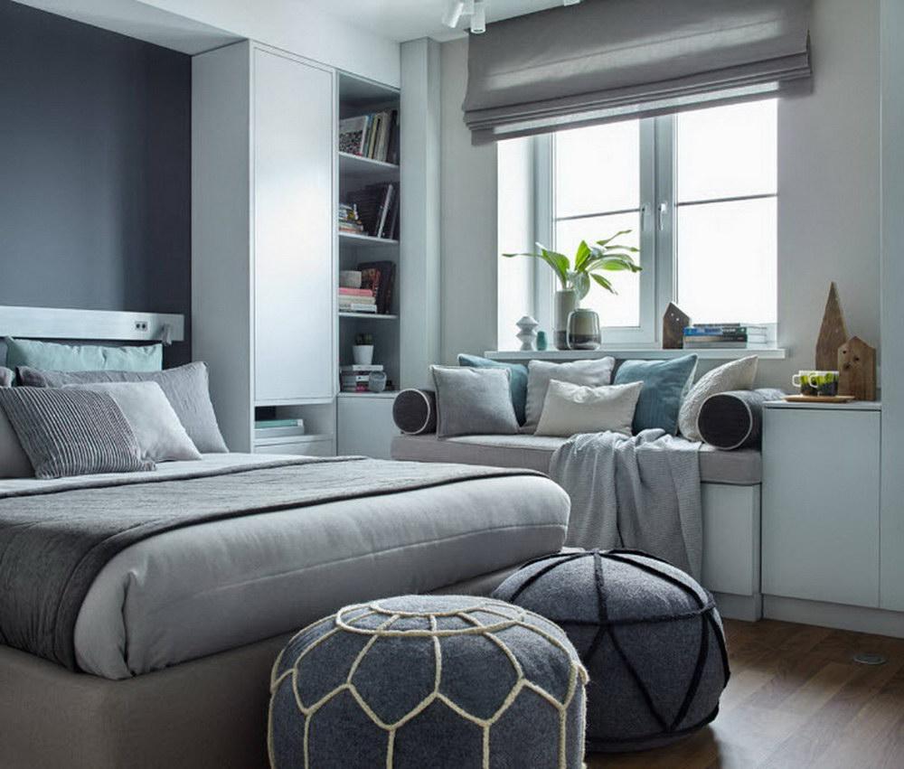 дизайн спальни серо синий фото стиле