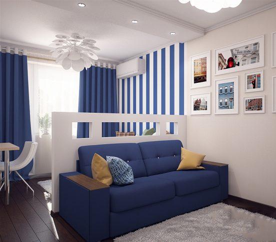 Зонирование комнаты с помощью мебели и перегородки из гипсокартона