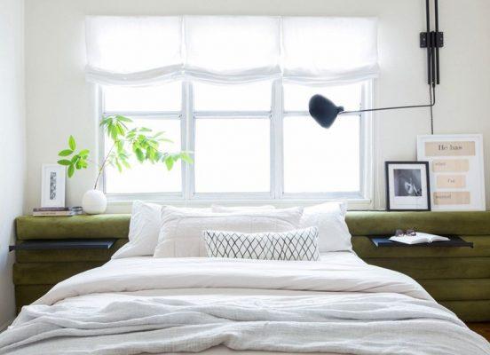 Интерьер спальни с минимумом текстиля