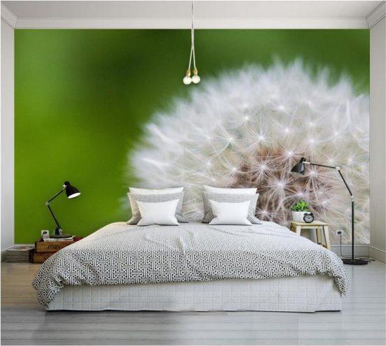 3д фотообои в интерьере спальни