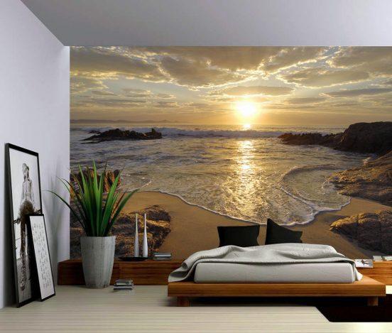 3D фотообои в спальне