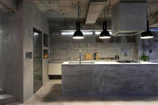 Бетон в интерьере кухни
