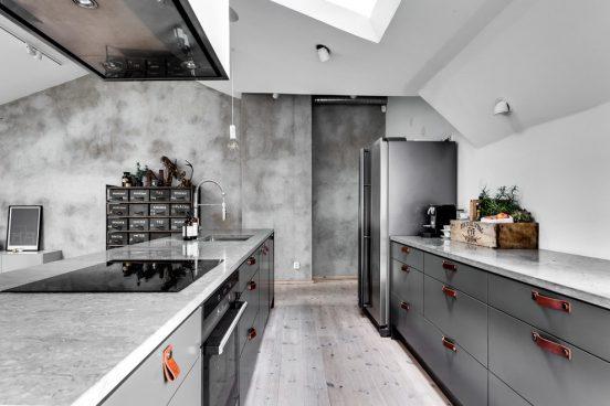 Бетонная отделка кухни