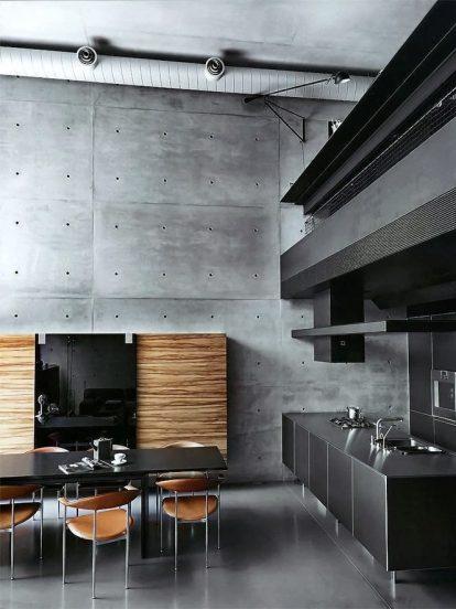 Бетонные стены в кухне