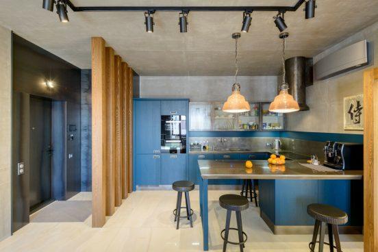 Интерьер бетонной кухни