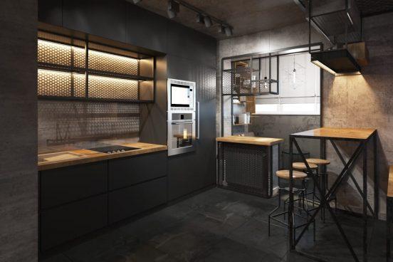 Бетон и дерево в интерьере кухни