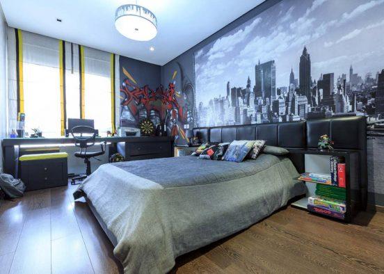 Кровать и фотообои с изображением мегаполиса