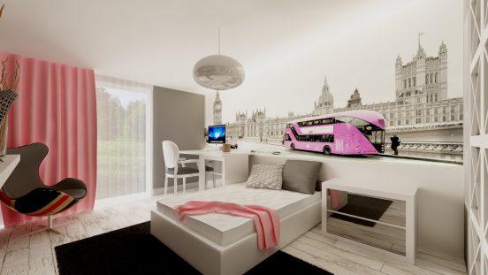 Комната со светлыми фотообоями