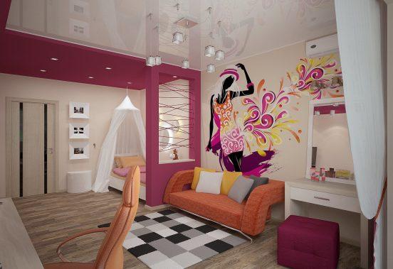 Просторное помещение с рисунком на стене