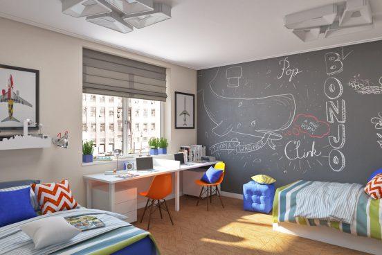 Детская комната со стеной для рисования