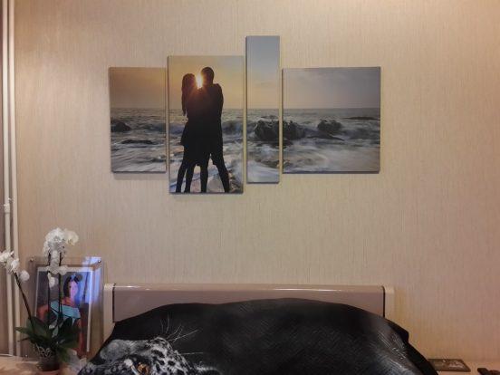 Модульная картина в спальне